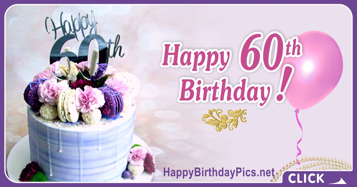 Happy 60th Birthday with Violet Macarons Card Equivalents