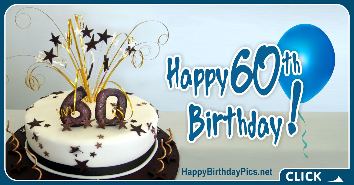 Happy 60th Birthday with Gold Ribbons Card Equivalents
