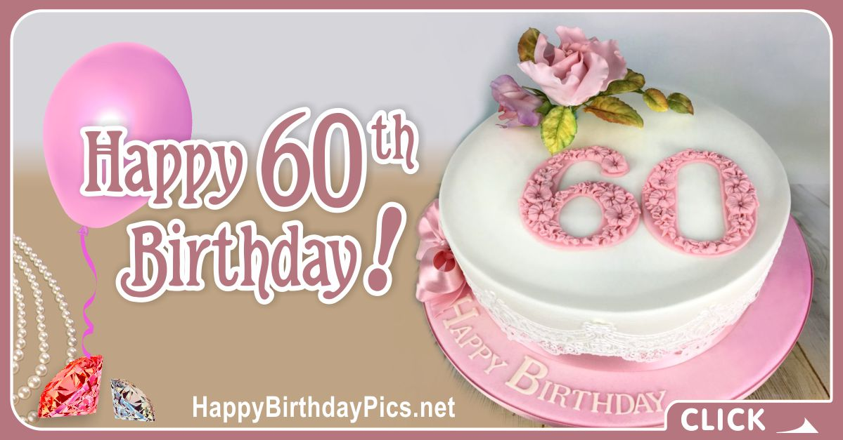 Happy 60th Birthday with Pink Diamonds Card Equivalents