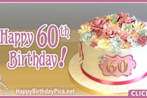Happy 60th Birthday with Pastel Flowers