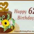 Happy 62nd Birthday with Flowers Cake