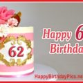 Happy 62nd Birthday with Pink Theme