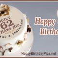 Happy 62nd Birthday with Brown Flowers