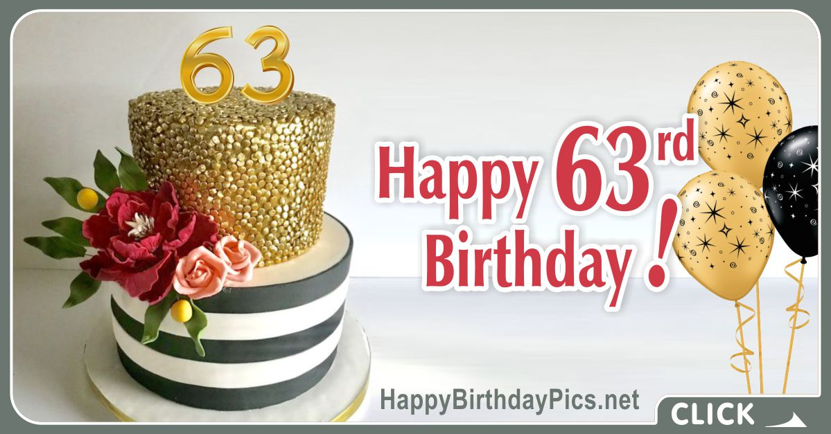 Happy 63rd Birthday with Gold Chocolate Card Equivalents