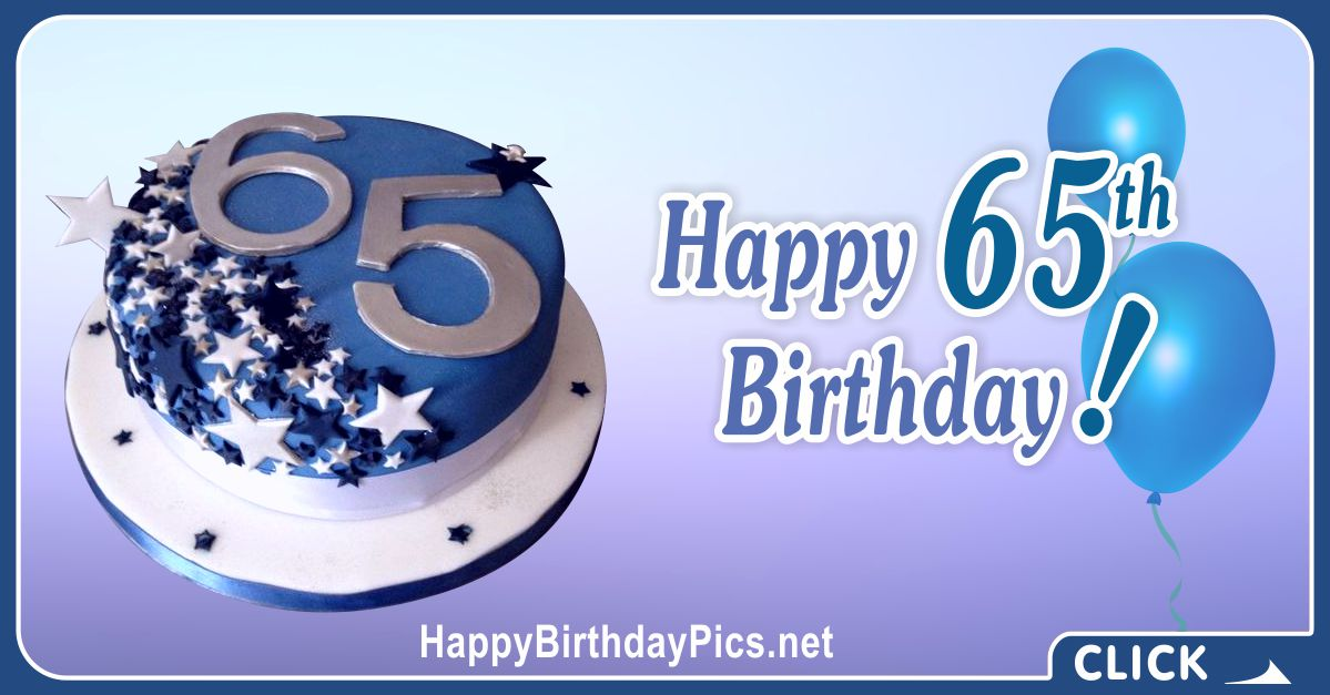 Happy 65th Birthday with Blue Stars Card Equivalents