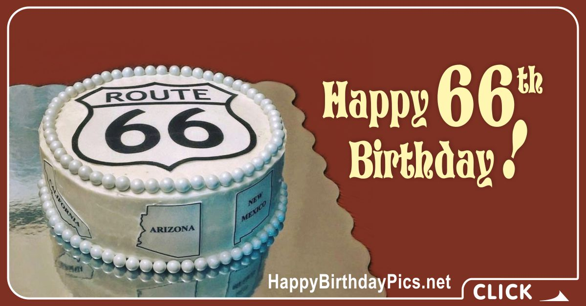 Happy 66th Birthday on Route 66 Card Equivalents