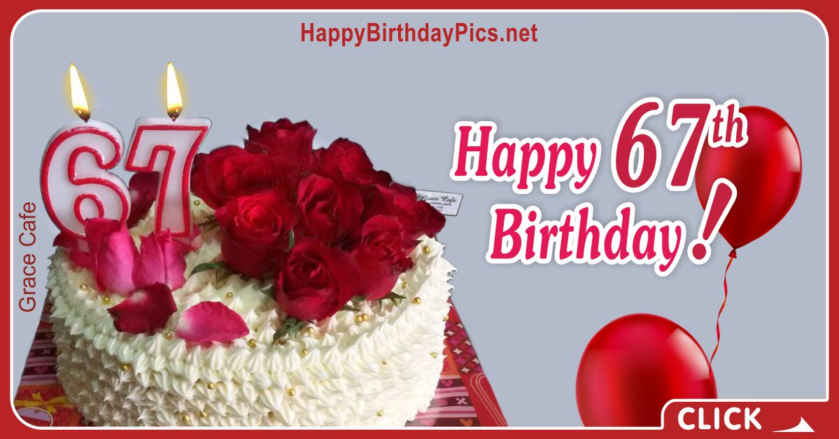 Happy 67th Birthday in Ruby Red Card Equivalents