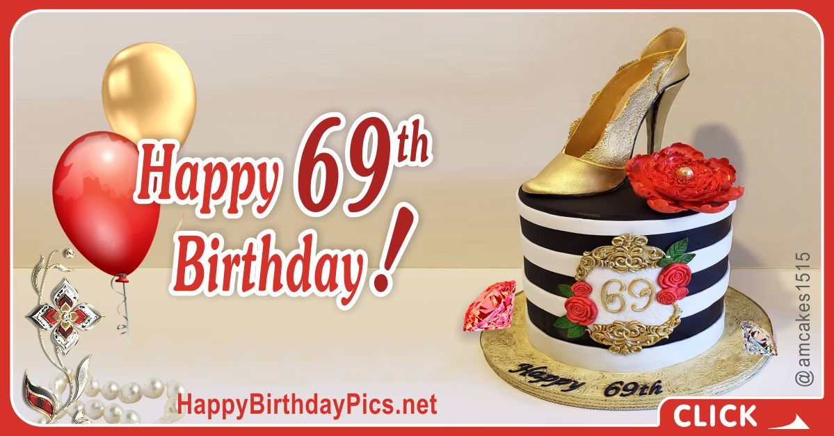 Happy 69th Birthday with Heeled Shoes Card Equivalents