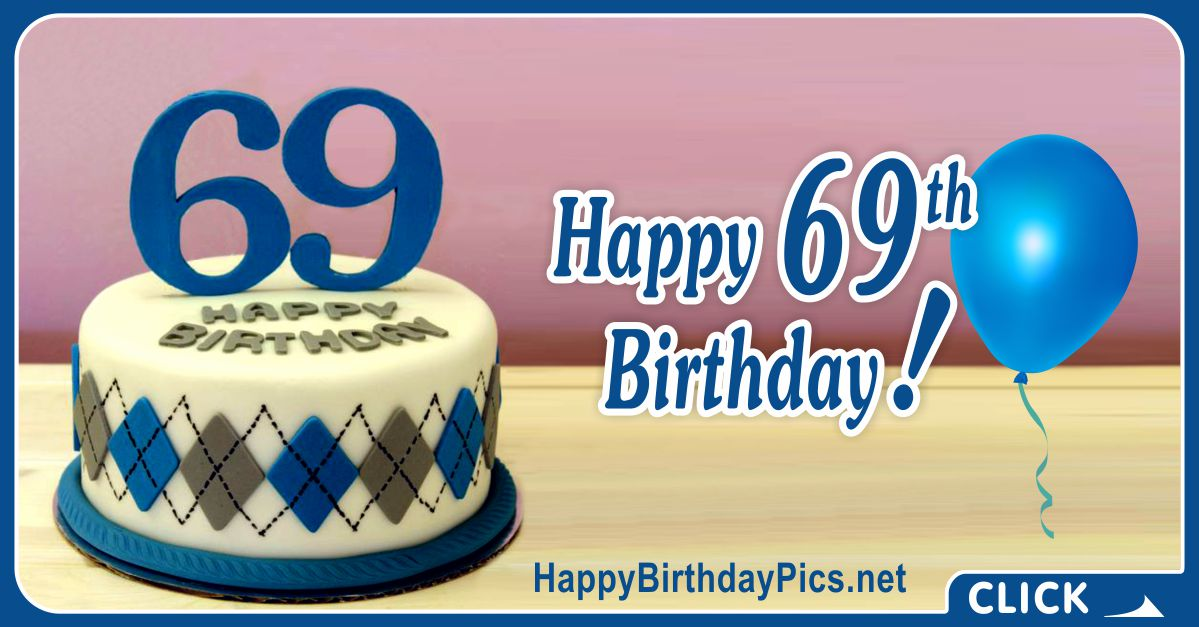 Happy 69th Birthday with Diamond Sweater Pattern Card Equivalents