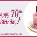 Happy 70th Birthday with Pink Cake