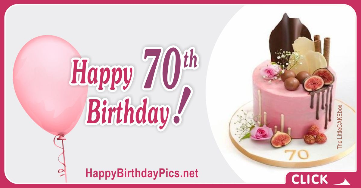 Happy 70th Birthday with Pink Cake Card Equivalents