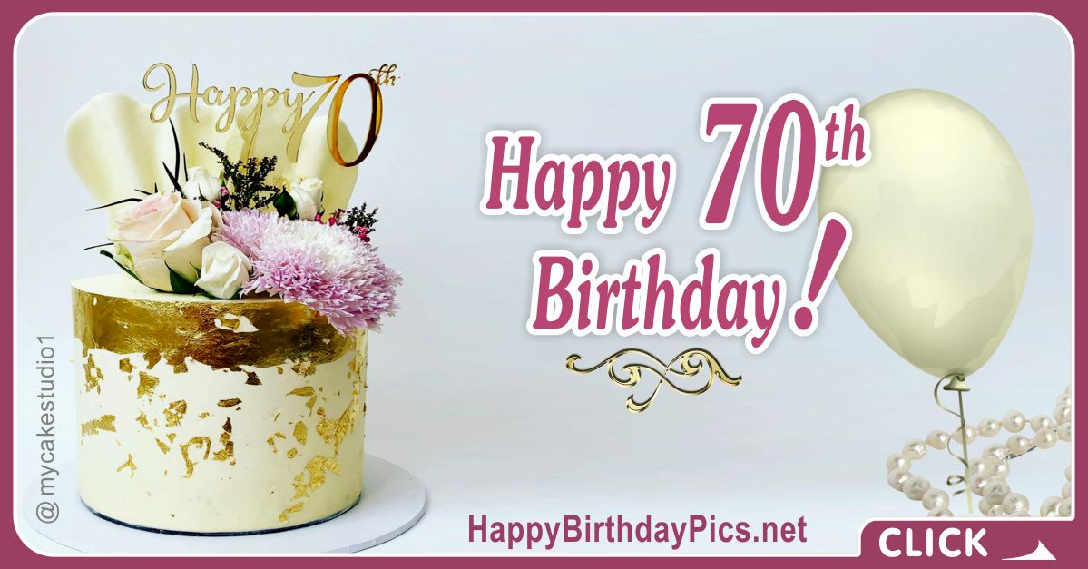Happy 70th Birthday with Gold Leaf Card Equivalents