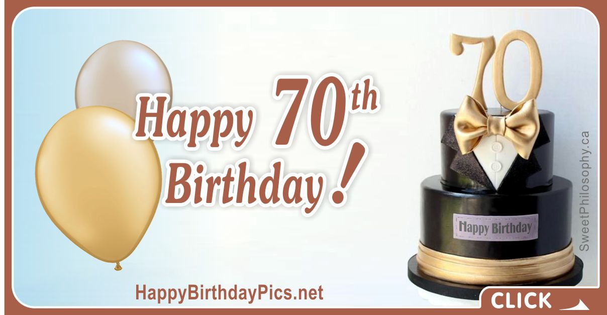 Happy 70th Birthday with Tuxedo Bow Tie Card Equivalents