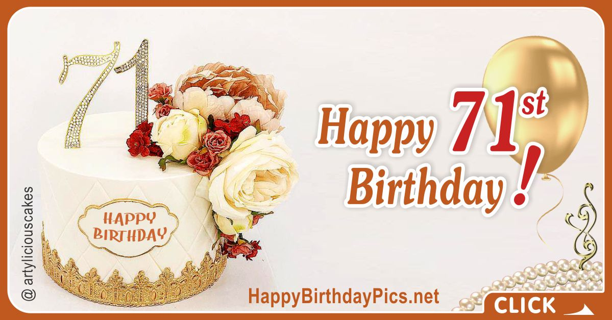 Happy 71st Birthday with Diamond Digits Card Equivalents