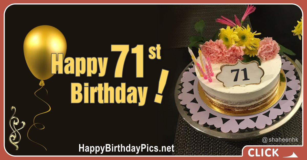 Happy 71st Birthday with Golden Plate Card Equivalents