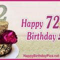 Happy 72nd Birthday with Gold Ornaments