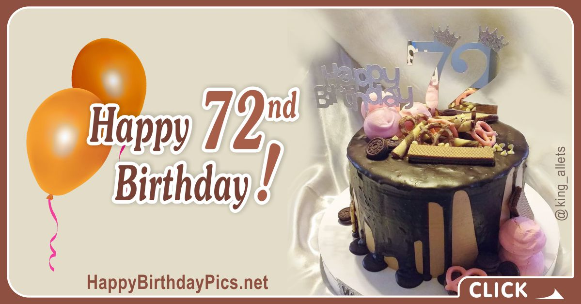 Happy 72nd Birthday with Pink Cookies Card Equivalents