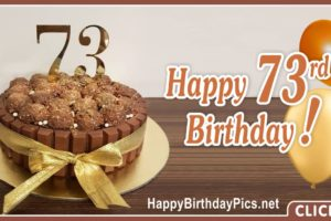 Happy 73rd Birthday with Golden Ribbon