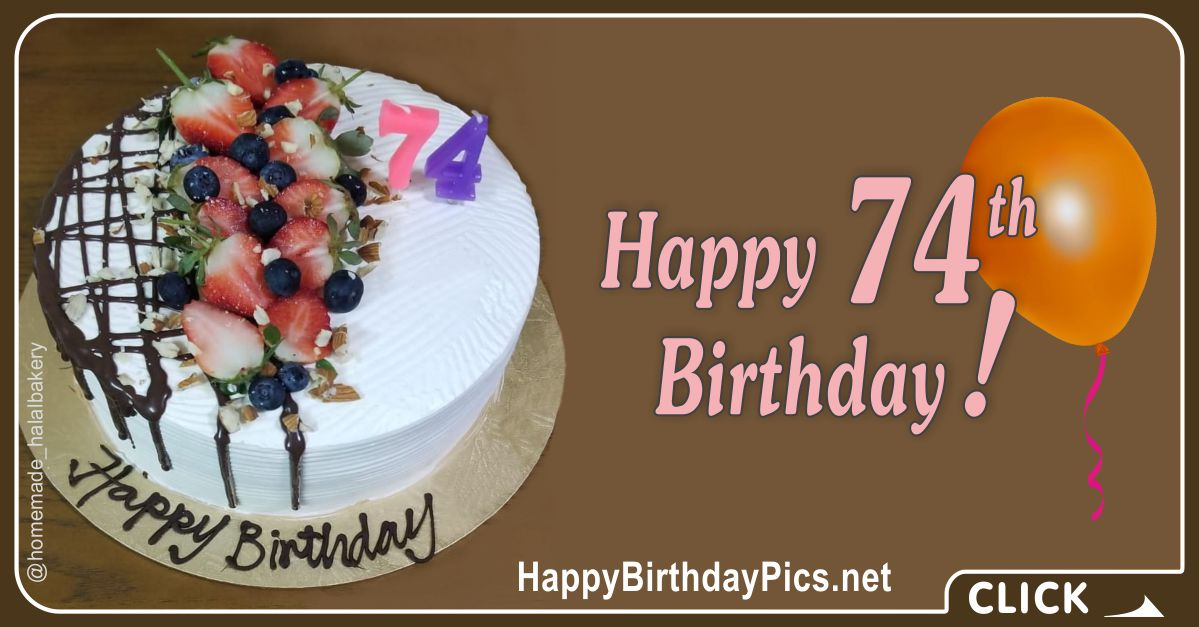 Happy 74th Birthday with Strawberry Cake Card Equivalents