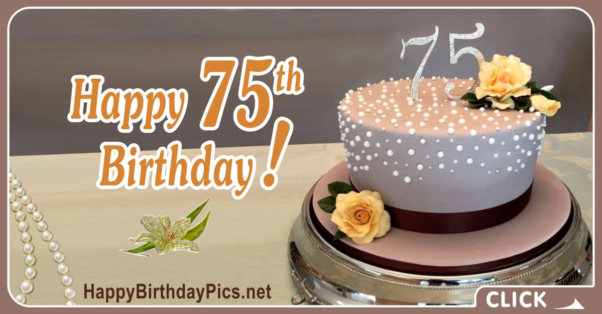 Happy 75th Birthday with Elegant Decoration Card Equivalents