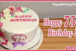 Happy 75th Birthday with Floral Decoration