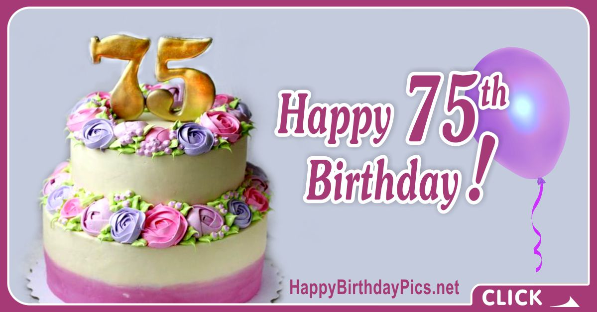 Happy 75th Birthday with Golden Digits Card Equivalents