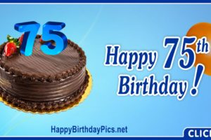 Happy 75th Birthday with Blue Digits