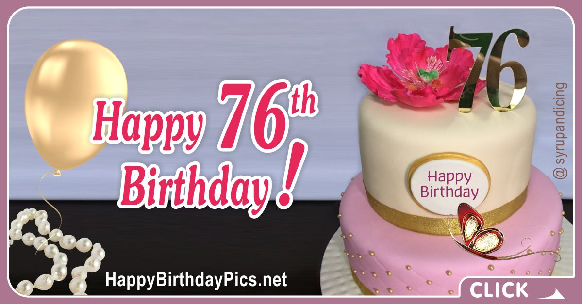 Happy 76th Birthday with Golden Brooch Card Equivalents