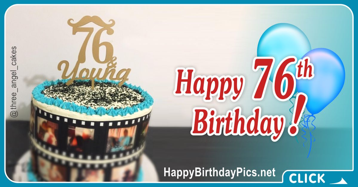 Happy 76th Birthday with Film Strap Card Equivalents