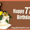 Happy 77th Birthday with Gold Brooch