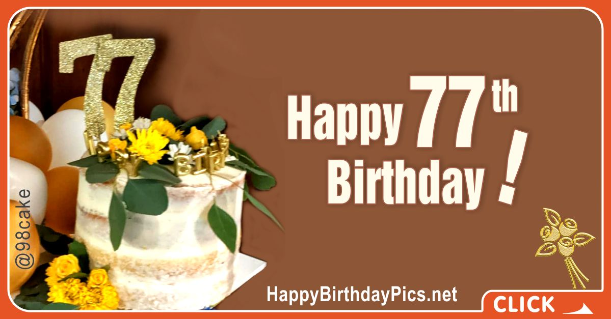 Happy 77th Birthday with Gold Brooch Card Equivalents