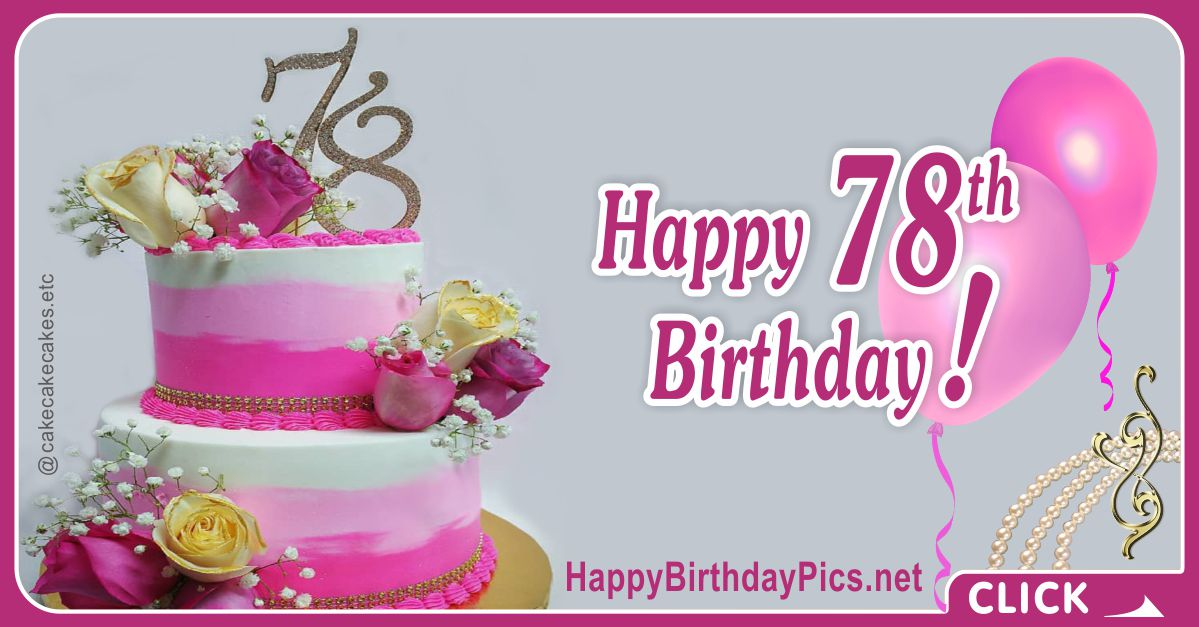 Happy 78th Birthday with Pearl Choker Card Equivalents