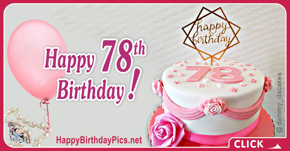 Happy 78th Birthday with Stylish Design Card Equivalents
