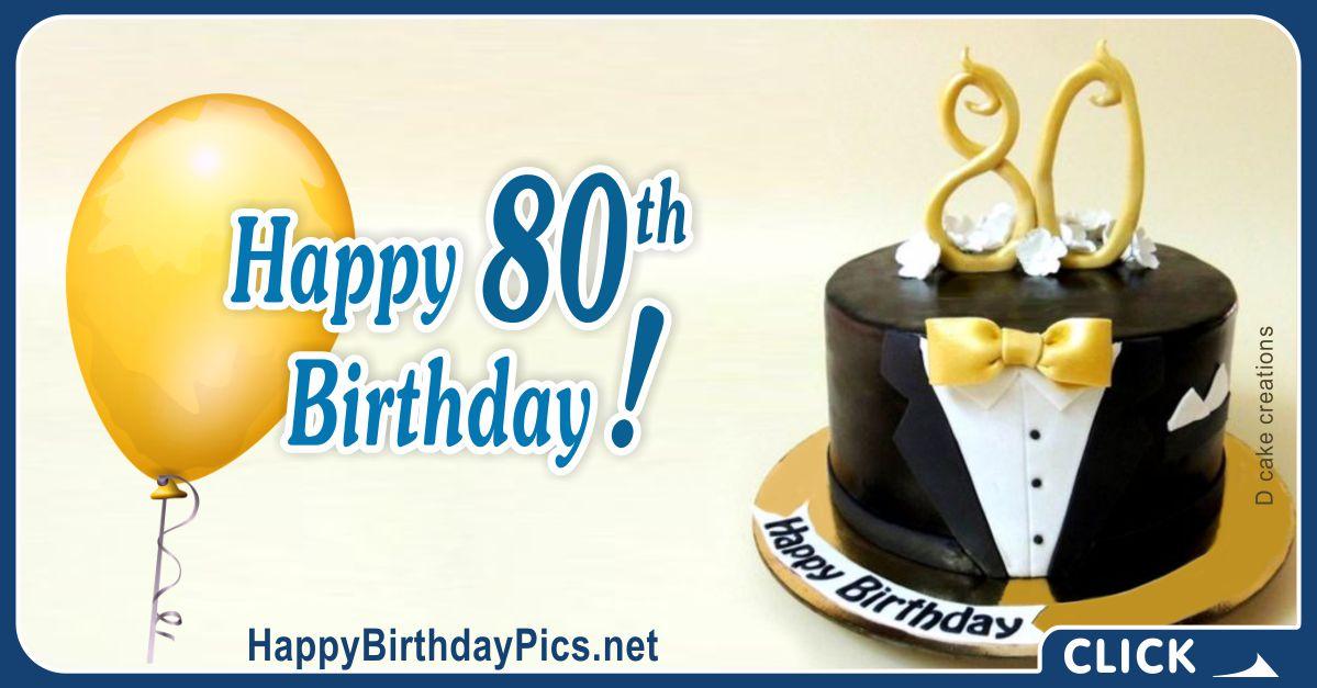 Happy 80th Birthday with Black Tuxedo Theme Card Equivalents
