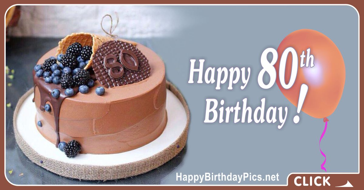 Happy 80th Birthday with Blueberry Cone Card Equivalents