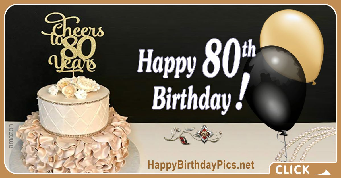 Happy 80th Birthday with Ruby Brooch Card Equivalents
