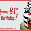 Happy 81st Birthday with Golden Frame