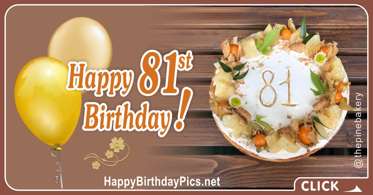 Happy 81st Birthday with Yellow Fruits Card Equivalents