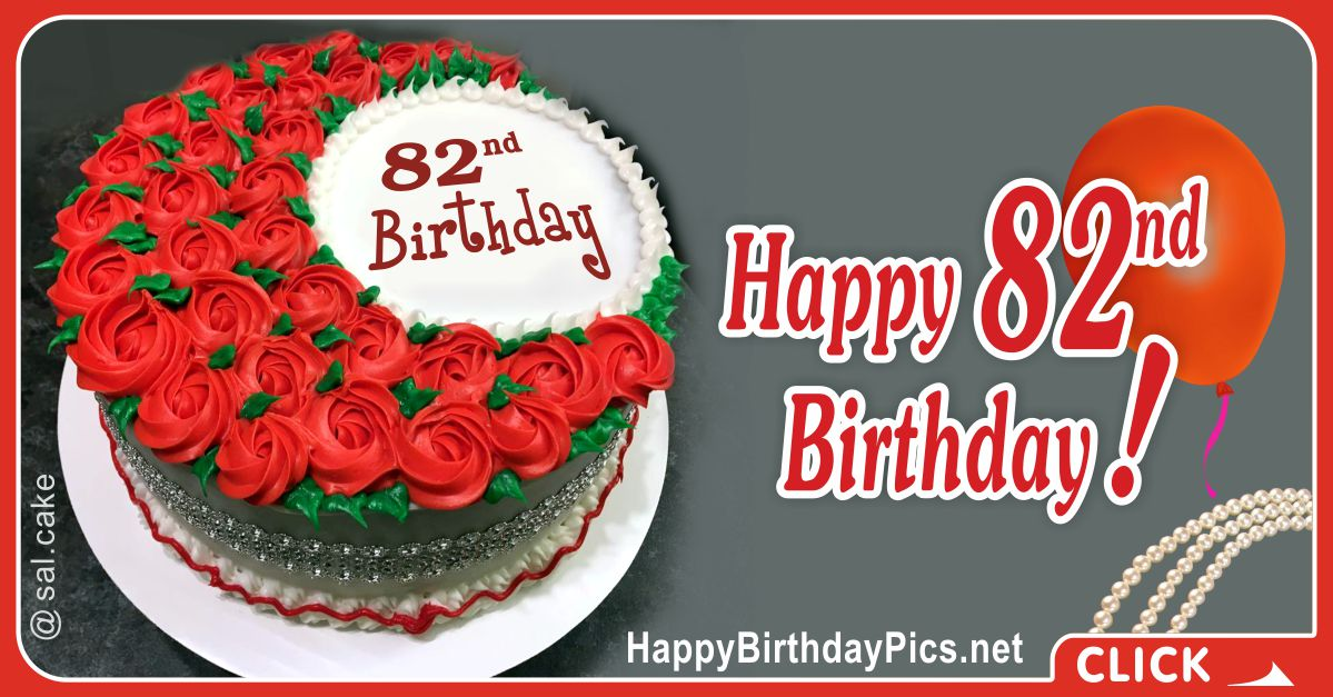 Happy 82nd Birthday with Red Roses Card Equivalents
