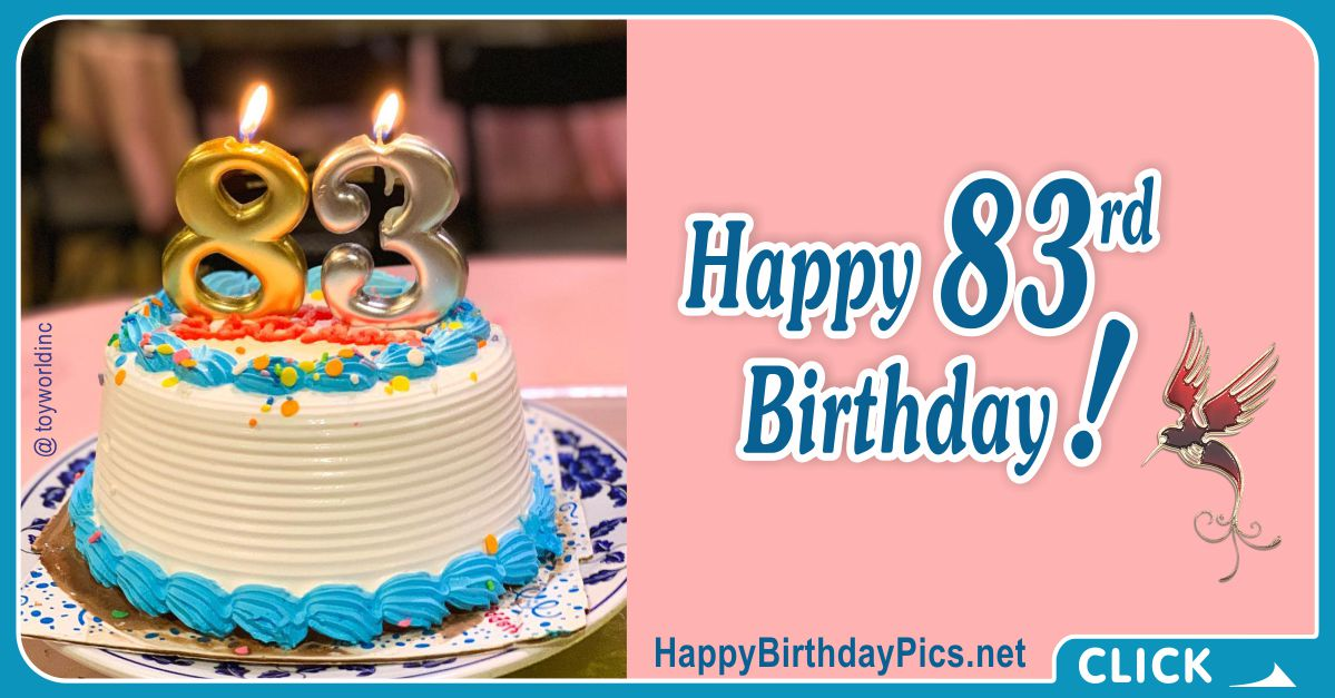Happy 83rd Birthday with Gold Candles Card Equivalents