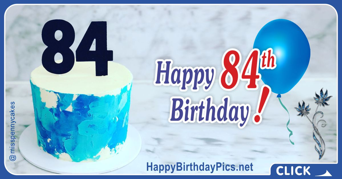 Happy 84th Birthday with Marble Pattern Card Equivalents