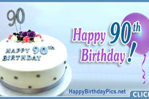 Happy 90th Birthday with Blue Gemstone