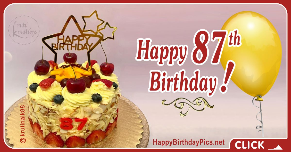 Happy 87th Birthday with Cherry Cake Card Equivalents