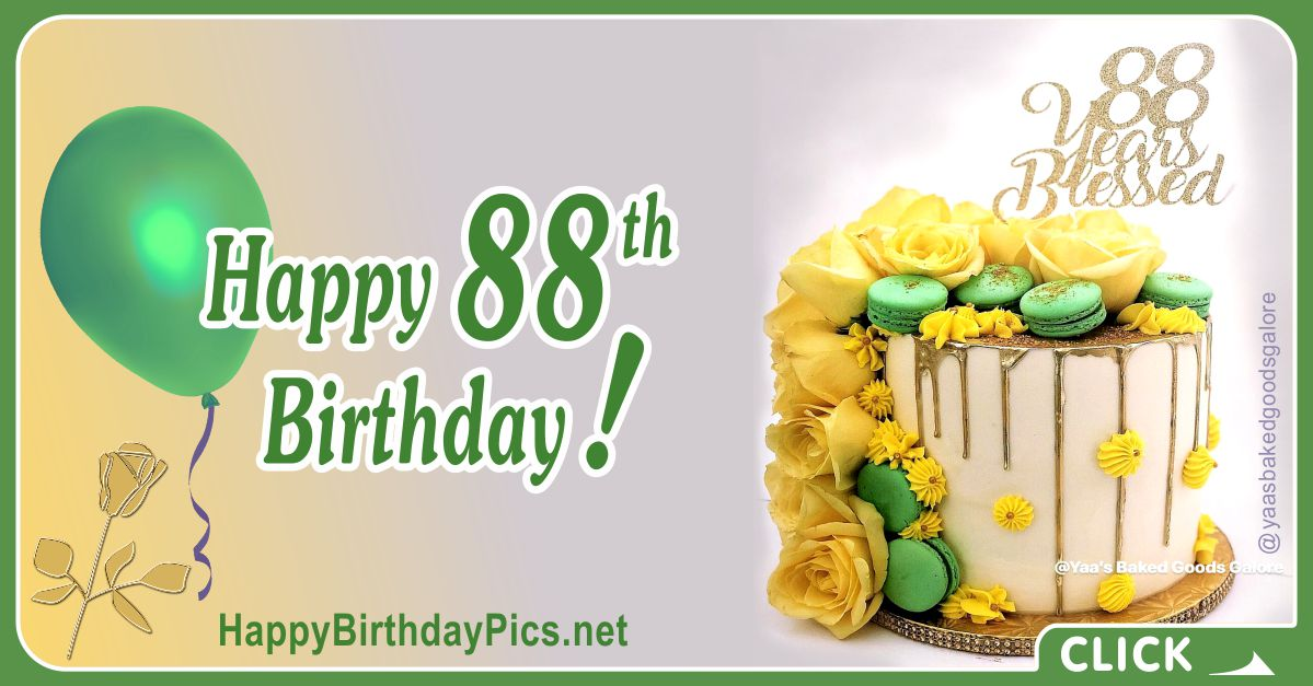 Happy 88th Birthday with Green Macarons Card Equivalents
