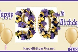 Happy 90th Birthday with Purple Flowers