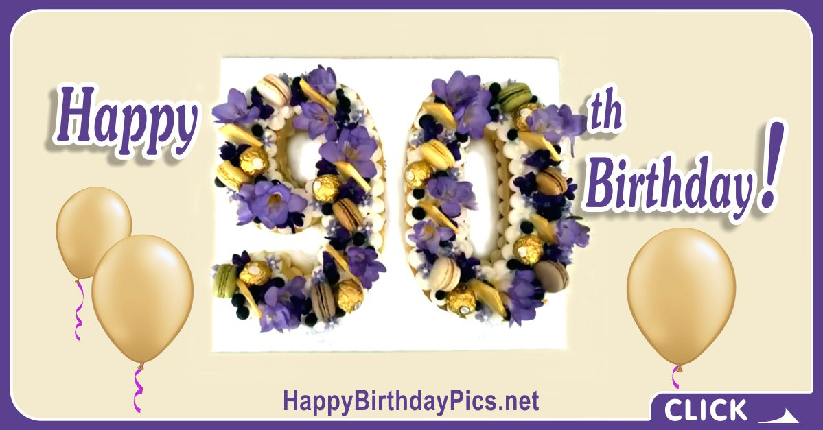 Happy 90th Birthday with Purple Flowers Card Equivalents