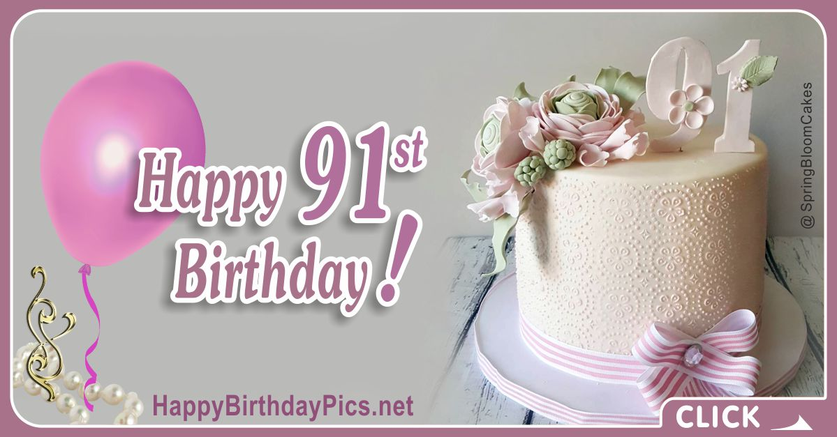 Happy 91st Birthday with Golden Brooch Card Equivalents