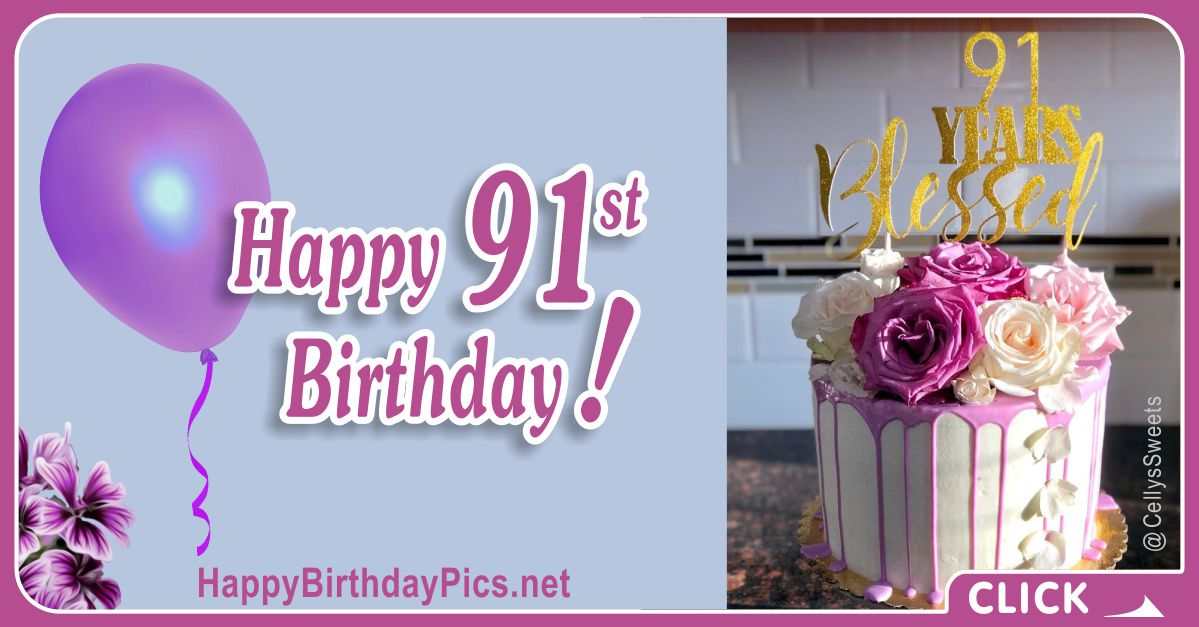 Happy 91st Birthday with Purple Flowers Card Equivalents