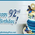 Happy 92nd Birthday with Blue Gold Brooch