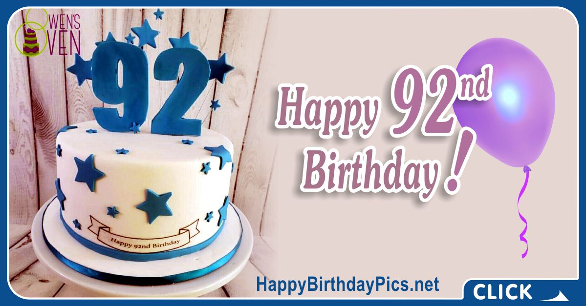 Happy 92nd Birthday with Blue Stars Card Equivalents